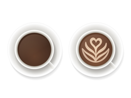 aroma: Realistic coffee cups top view. Black coffee and latte foam art isolated vector illustration.