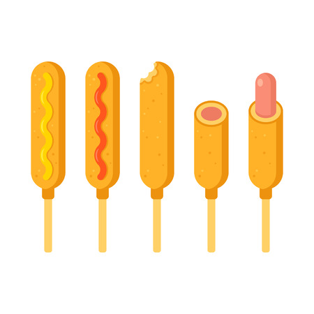 Corn dog illustration set. Corndogs with ketchup and mustard, missing bite and half. Flat cartoon vector.