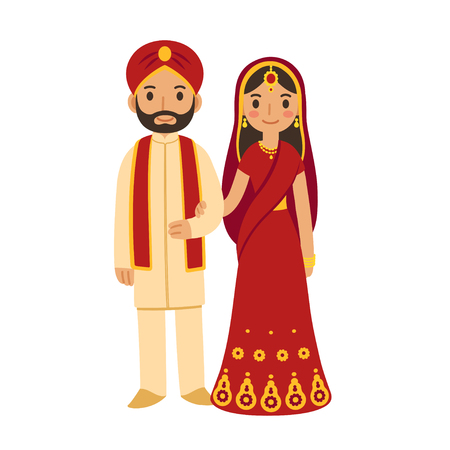 traditional illustration: Indian wedding couple in traditional clothing. Cute cartoon vector illustration.