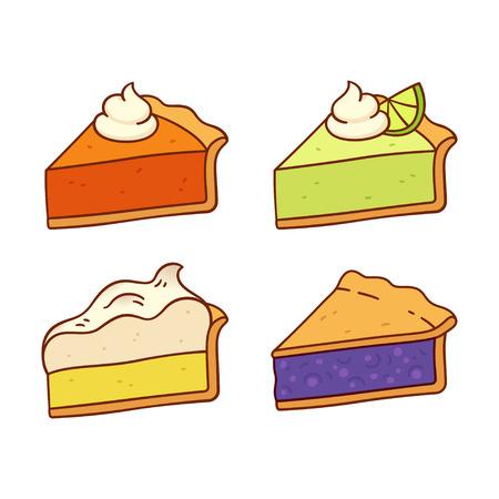 アメリカの伝統的なパイのセット: カボチャ、キーライム、レモンメレンゲとブルーベリーのパイ。かわいい漫画のベクトル図面。