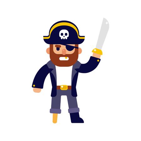 costume eye patch: Angry cartoon pirate with sword. Modern flat style vector illustration.
