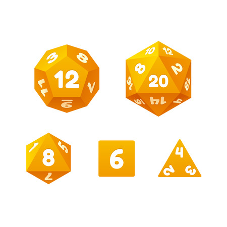 polyhedral: Vector icon set of dice for fantasy RPG tabletop games. Standard board game polyhedral dice with different number of sides.