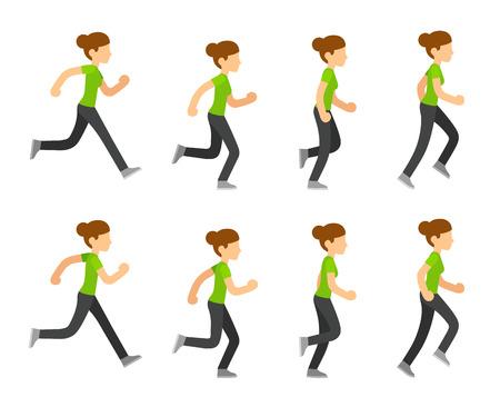 Running woman animation frames set. Flat cartoon vector illustration sequence of jogging female athlete.