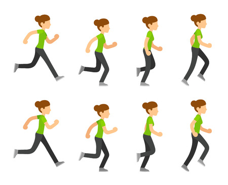 Running woman animation frames set. Flat cartoon vector illustration sequence of jogging female athlete.