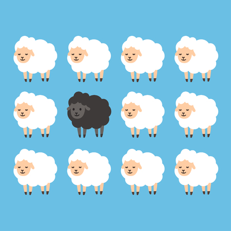 rejection: Black sheep between white sheep vector illustration. Stand out from the crowd concept.