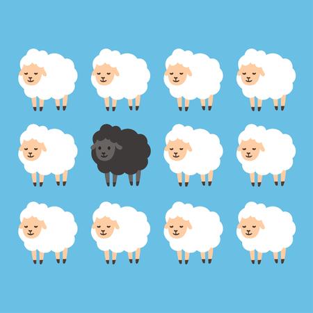 garbanzo negro entre ilustración en blanco vector de ovejas. Se destacan entre la multitud concepto.
