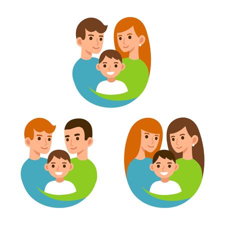 与儿童,妈妈和爸爸与儿子的同性恋和传统夫妇。家庭和采用例证。