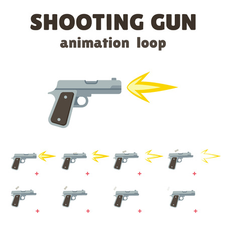 Gun shoot animation, 8 frame loop. Realistic smooth motion with recoil and falling shells. Cartoon effect for video games. Illustration