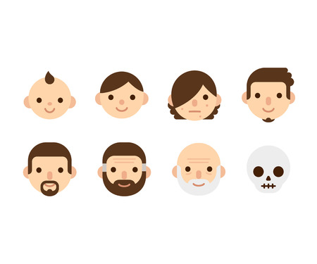 life and death: Cartoon man generations portraits, from childhood to adult and senior, birth to death. Cute cycle of life illustration.