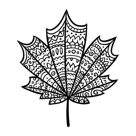 detail: Hand drawn maple leaf doodle with intricate ornament texture. Zen coloring book illustration.