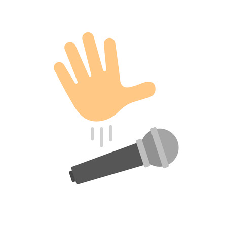 Mic drop illustration. Cartoon hand dropping microphone, simple modern icon.