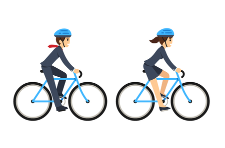 Young man and woman in business suit riding bicycles. Cute flat cartoon style vector illustration.
