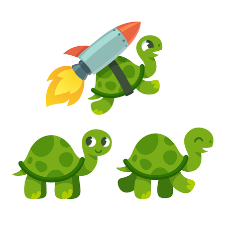 Cute cartoon turtle set. Standing, walking and rocket flying. Funny vector illustration.