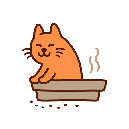 Funny cat pooping in litter box drawing. Cute cartoon vector illustration. Stock Illustratie