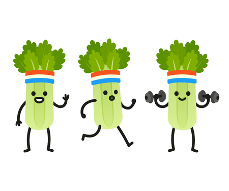 heath: Funny heath and fitness illustration set. Cartoon celery with sweatband jogging and lifting dumbbells. Cute character drawing.