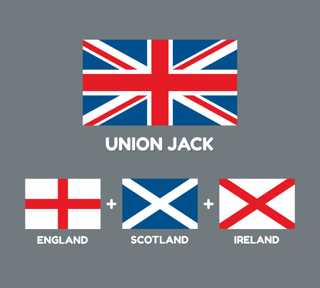 national identity: United Kingdom flag (Union Jack) with three flags that comprise it: England, Scotland and Ireland. British flags vector illustration.