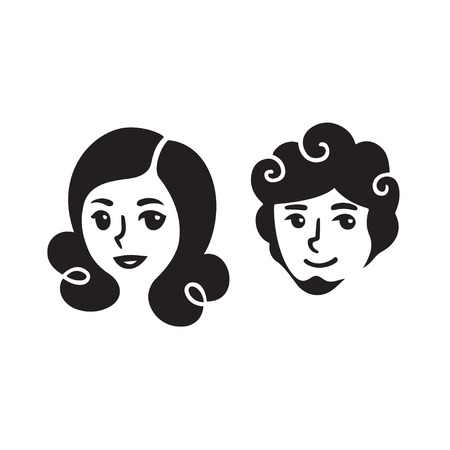 girlfriend: Cartoon man and woman portraits. Beautiful young people faces, stylized vector illustration.