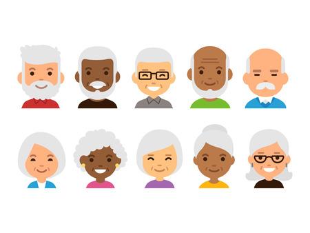 老人は漫画のアバター セットです。多様なシニア文字の分離ベクトル イラスト。  イラスト・ベクター素材