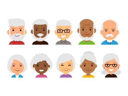 Old people cartoon avatars set. Isolated vector illustration of diverse senior characters.