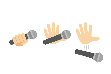 Mic drop illustration set. Cartoon hand holding and dropping microphone action. Vettoriali