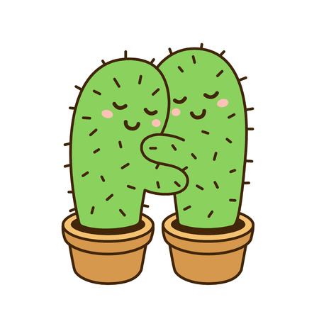 Cactus hug vector drawing. Cute cartoon cactus couple in love, funny illustration.
