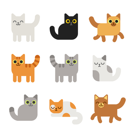 別の漫画の猫を設定します。シンプル モダンな幾何学的なフラット スタイルのベクトル図です。