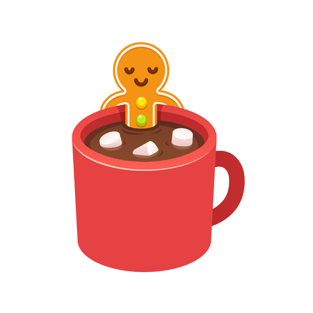 hot cup: Gingerbread man cookie relaxing in hot chocolate cup with marshmallows. Christmas morning greeting card element. Modern cute cartoon vector illustration. Illustration