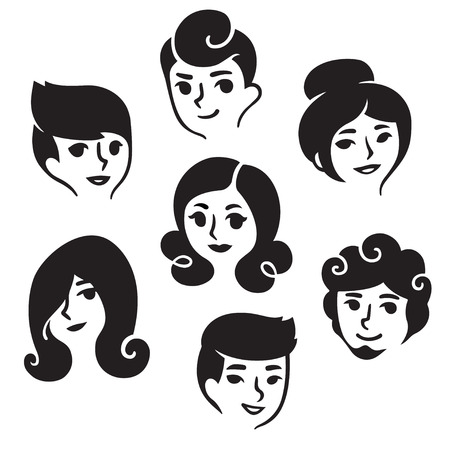 set of men hair styling: Cartoon male and female faces with different hairstyles, illustration set. Simple and cute portrait drawings. Illustration