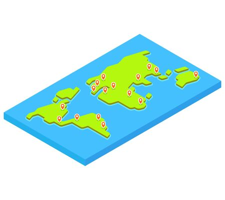 capital cities: Isometric world map with main capital cities. Stylized 3D flat vector illustration.