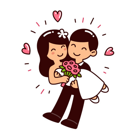 Cute Asian wedding couple in Western style clothes. Cartoon vector illustration. Illustration