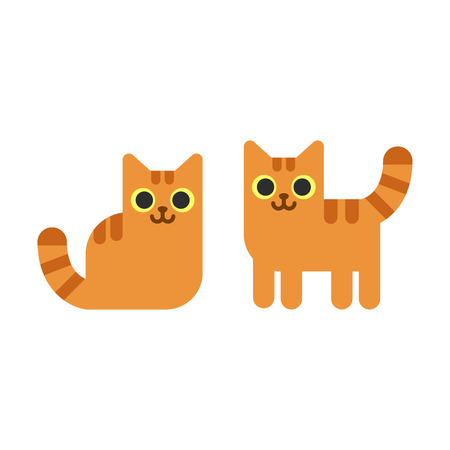 Two cartoon ginger cats, standing and sitting. Simple geometric flat vector illustration. Illustration