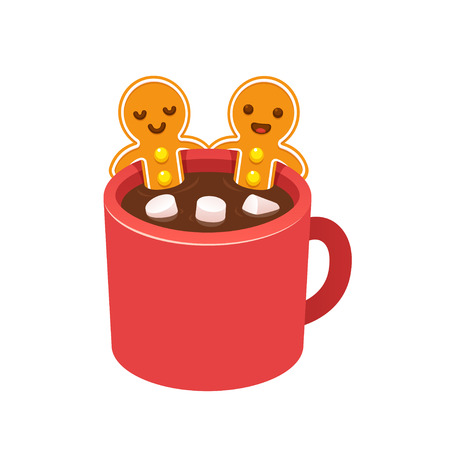 hot cup: Two gingerbread man cookies in hot chocolate cup with marshmallows. Funny Christmas greeting card. Cute cartoon vector illustration.