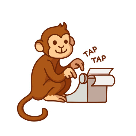 Monkey with typewriter, humorous cartoon illustration. Cute vector drawing. Vectores