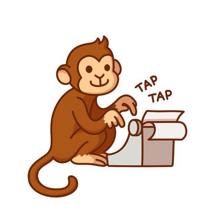Monkey with typewriter, humorous cartoon illustration. Cute vector drawing. Illustration