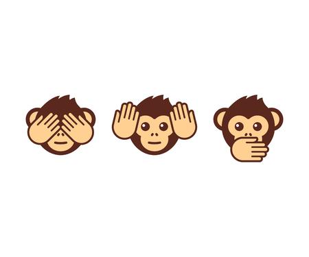 Three wise monkeys vector icons.