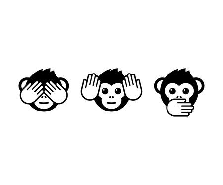 Tres iconos del vector monos sabios.