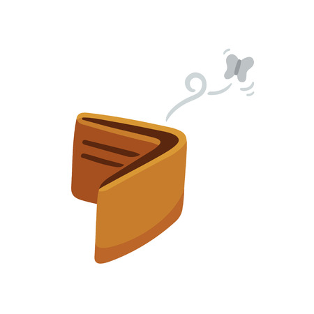debt management: Cartoon empty wallet illustration with flying moth.