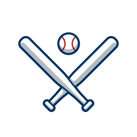 team game: Two crossed baseball bats and baseball vector illustration. Sports team  or game icon.
