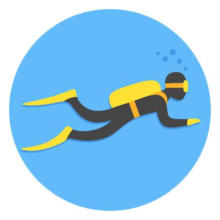 Scuba diving vector illustration. Swimming diver on blue background.