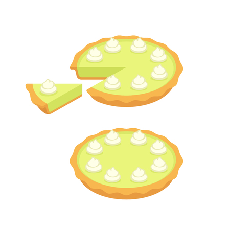 Key lime pie, whole and slice. Traditional Southern American dessert. Vector illustration.