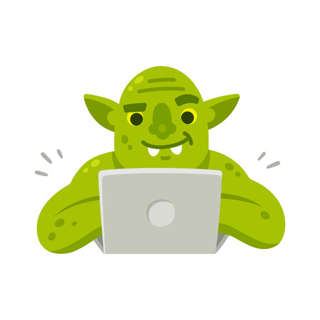 Internet troll with computer. Funny cartoon vector illustration of green goblin typing on laptop. Illustration