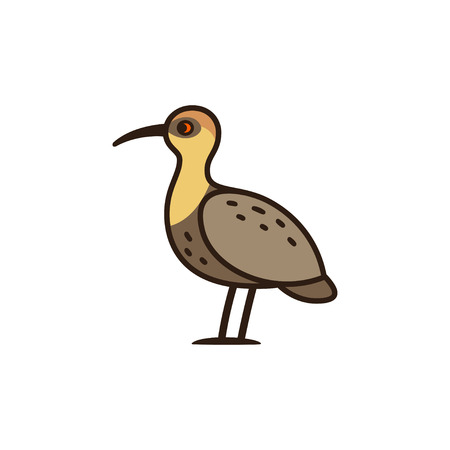 faced: Bandurria, or Black faced Ibis, big bird native to South America. Cartoon vector illustration.