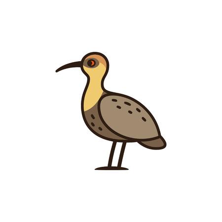 Bandurria, or Black faced Ibis, big bird native to South America. Cartoon vector illustration.