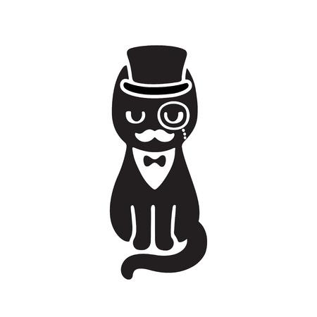 chat Gentleman avec le chapeau supérieur et monocle. Drôle dessin vectoriel de dessin animé. Chat noir et blanc avec la moustache portant smoking et noeud papillon.