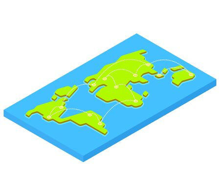 capital cities: Isometric world map with flight destinations from major capital cities. Stylized 3D flat vector illustration. Illustration