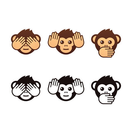 Three wise monkeys vector icons. Color and black and white version.