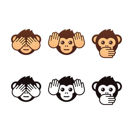 Trois singes sages icônes vectorielles. Couleur et version noir et blanc. Vecteurs