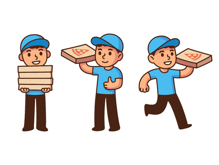 deliver: Cute pizza delivery boy illustration set. Cartoon vector drawing. Illustration