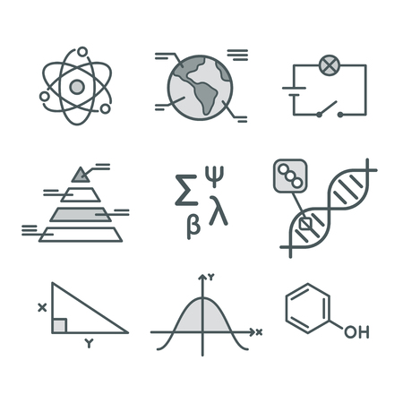 science symbols: Science symbols set. Mathematical functions, chemistry and biology, geography and physics. Abstract science vector infographic elements.