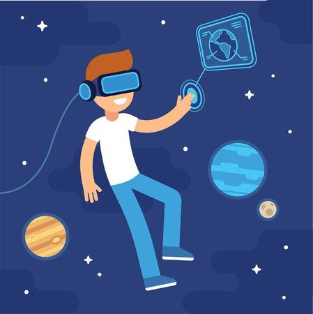 VR muchacho con auriculares en el espacio. La realidad virtual en la educación y juegos. ilustración vectorial de dibujos animados plana.